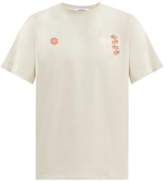 Adish - Logo-print Floral Cross-stitch Cotton T-shirt - Beige