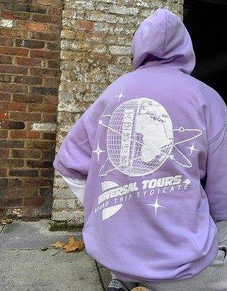 ASOS DESIGN double layer oversized hoodie with back & sleeve print in lilac & white
