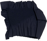 Cédric Charlier Ruffled Smocked Stretch-cotton Poplin Bustier Top - Navy
