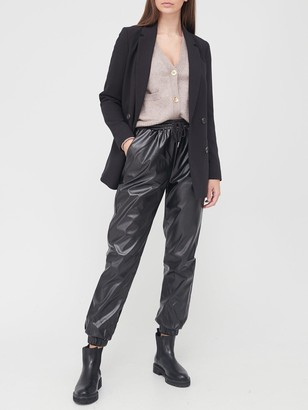 Missguided Faux Leather Jogger Trousers - Black