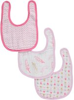 "Hudson Baby Feather Medley"" 3-Pack Muslin Bibs"