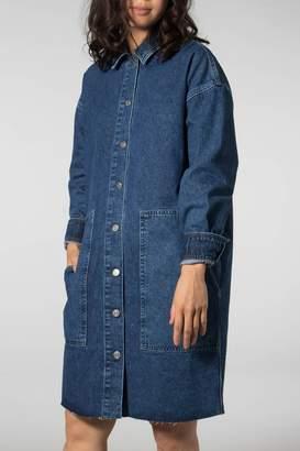 Selected Medium Blue Denim Hanna Long Denim Shirt Dress - 36