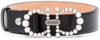 Salvatore Ferragamo pearl-embellished Gancini belt
