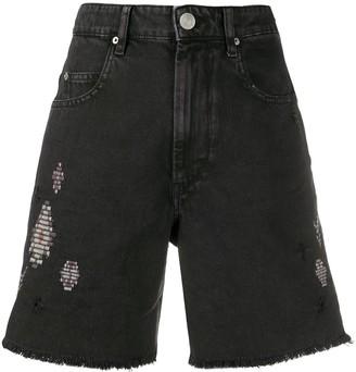 Etoile Isabel Marant Distressed Denim Shorts