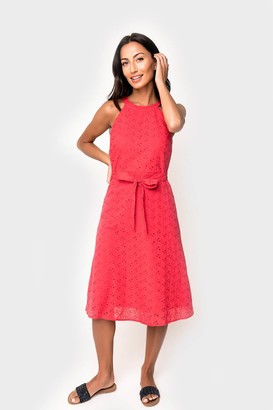 Gibson x DTKAustin Fit and Flare Belted Halter Eyelet Dress