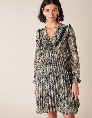 Monsoon Geometric Print Pleated Dress Grey