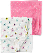 Carter's 2-Pk. Dots and Butterflies Swaddle Blankets, Baby Girls
