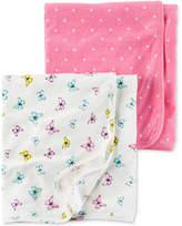 Carter's 2-Pk. Dots & Butterflies Swaddle Blankets, Baby Girls
