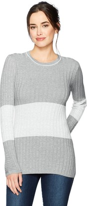 Foxcroft Women's Long Sleeve Josie Ribbed Stripe Colorblock Sweater