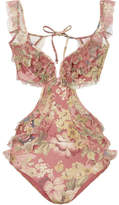 Zimmermann Melody Off-the-shoulder Ruffled Floral-print Swimsuit - Burgundy