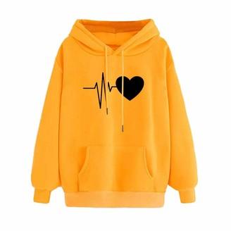 Generic Women Warm Winter Hoodies Long Sleeve Fleece Sweatshirts Casual Sportstyle Outwear (Yellow XL)