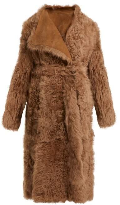 Yves Salomon Wrap Front Shearling Coat - Womens - Light Brown