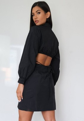 Missguided Cut Out Tie Back Shirt Dress