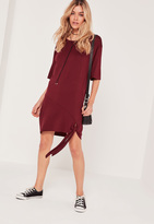 Missguided Tie Front T Shirt Dress Burgundy