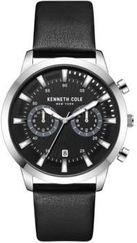 Kenneth Cole New York Men's Multifunction Dual Time Silver-tone Stainless Steel Watch on Black Genuine Leather Strap, 44mm