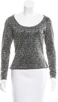 Naeem Khan Beaded Long Sleeve Top