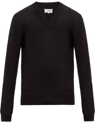 Maison Margiela Elbow Patch Wool Blend Sweater - Mens - Black