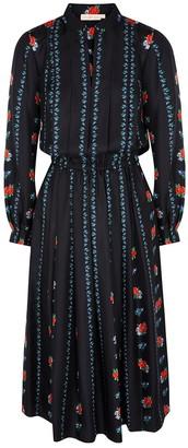 Tory Burch Floral-print pleated silk-twill dress