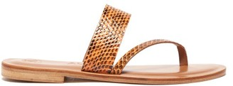 Álvaro González Alberta Snakeskin Slides - Womens - Orange