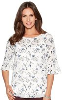 M&Co Floral frill sleeve dobby blouse