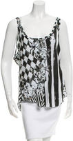 Balmain Sleeveless Mixed Print Tank