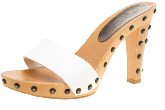 Dolce & Gabbana White Leather Wooden Platform Slides Size 38.5