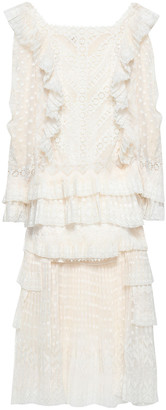 Zimmermann Asymmetric Ruffled Lace-trimmed Fil Coupe Dress