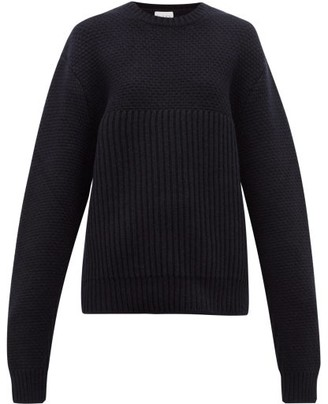Raey Contrast-panel Chunky-knit Wool Sweater - Womens - Navy