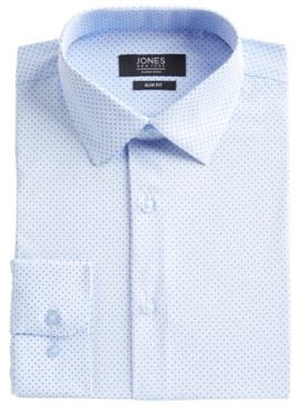 Jones New York Men's Slim-Fit Performance 4-Way Stretch Tech Light Blue/Navy Dot-Print Dress Shirt