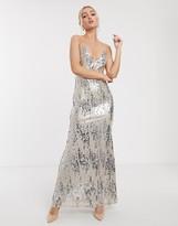 Goddiva cami strap maxi dress in silver sequin