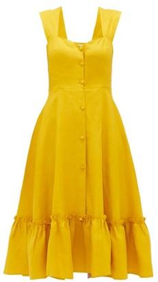 Gioia Bini Camilla Ruffle-trim Linen Dress - Womens - Yellow Multi