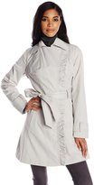 Jessica Simpson Women's Ruffle Front Trench Coat