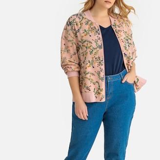 Castaluna Plus Size Flower Print Bomber Jacket