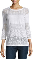 Design History Crewneck Burnout Sweater, White