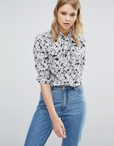 Warehouse Floral Printed Tie Neck Blouse
