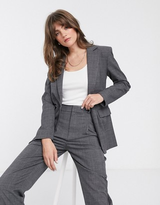 And other stories & check structured blazer in monochrome-Black