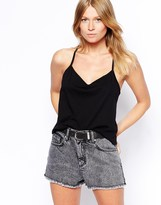 Asos High Waisted Denim Shorts with Side Split and Rips in Grey Vintage Wash