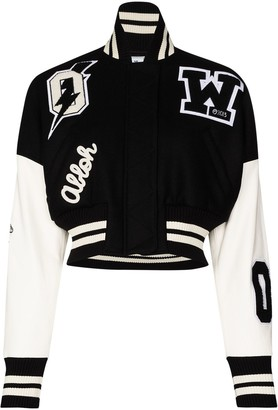 Off-White Cropped Varsity Bomber Jacket