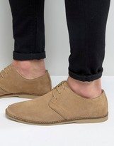 Asos Derby Shoes in Stone Suede With Piped Edging