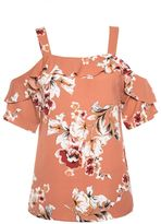 Quiz Terracotta and Cream Floral Frill Strap Top