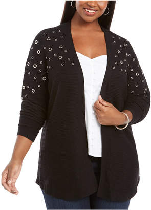 Belldini Plus Size Grommet-Hardware Open-Front Cardigan