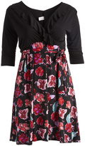 Glam Black & Red Floral Ruffle-Accent Wrap Dress - Plus