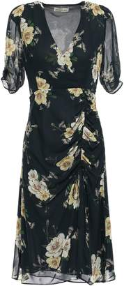 Nicholas Ruched Floral-print Silk-georgette Dress