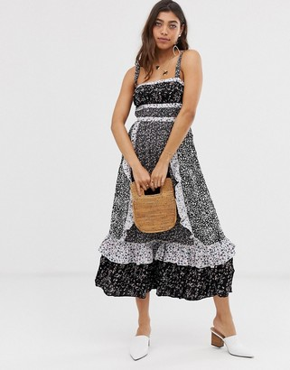 Free People Yesica patchwork floral maxi dress-Black