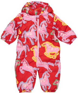 Stella Mccartney Kids Hooded Horse Print Nylon Puffer Romper