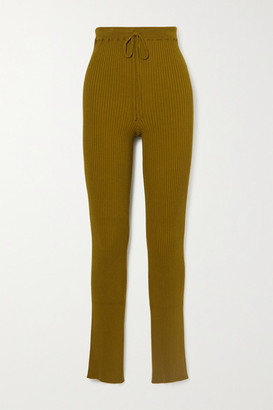 Marques Almeida Ribbed-knit Slim-leg Pants - Army green