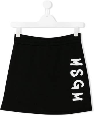 MSGM Kids TEEN logo print mini skirt