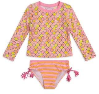 Tommy Bahama Long Sleeve Printed Rashguard Two-Piece Swimsuit Girls 4-16