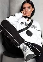 Missguided Lissy Roddy X White Slogan Contrast Sleeve Sweatshirt