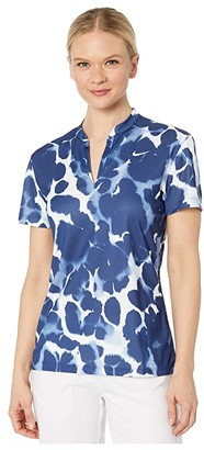 Nike Dry Victory Polo Short Sleeve Spring Print (Blue Void/White) Women's Clothing